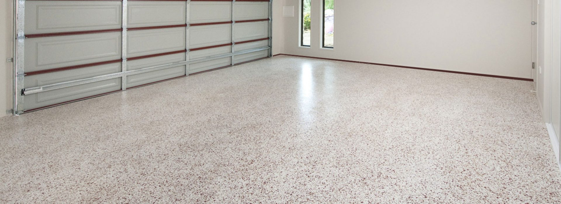 Decorative epoxy floor finish for two car garage