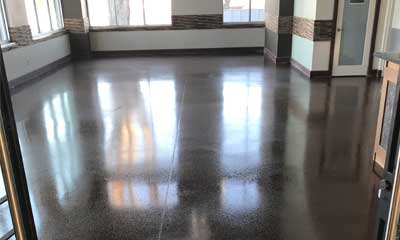 Commercial polished concrete floor, London, Ontario